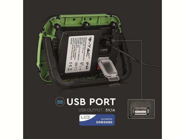 LED-Fluter VT-11-R, 10 W, 700 lm, 6400 K, Akkubetrieb, grün/schwarz - Produktbild 4
