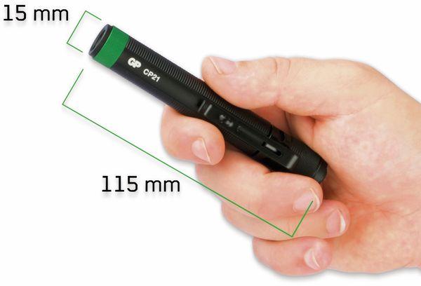 LED-Taschenlampe GP CP21, 20 lm,115 mm, schwarz/ - Produktbild 2