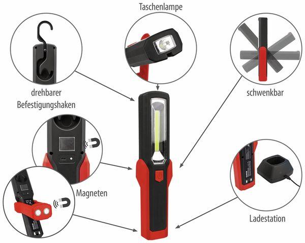 LED-Arbeitsleuchte EUFAB 13494 batteriebetrieben rot/schwarz - Produktbild 5