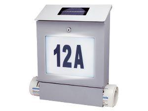 Briefkasten mit Hausnummernleuchte Solar