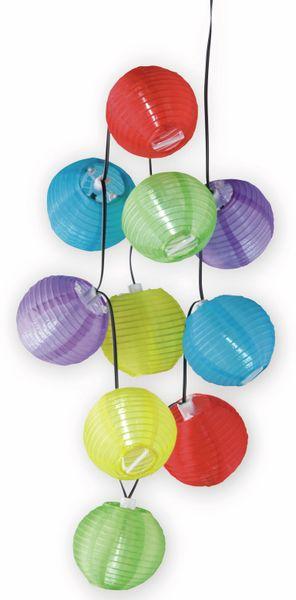 LED- Solar Sommerlichterkette,10 Lampions bunt