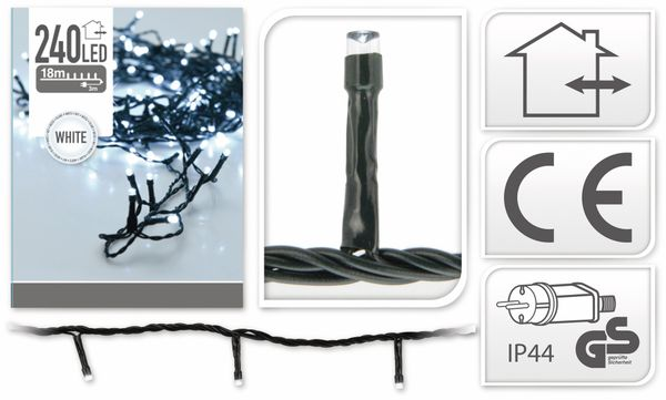 LED-Lichterkette, 240 LEDs, kaltweiß, 230V~, IP44, Innen/Außen - Produktbild 4