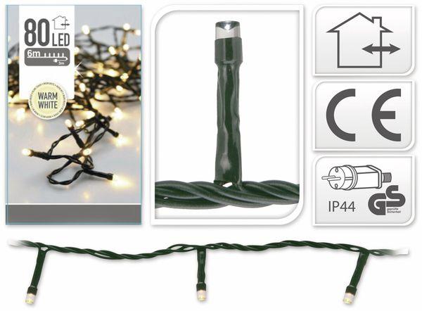 LED-Lichterkette, 80 LEDs, warmweiß, 230V~, IP44, Innen/Außen - Produktbild 4