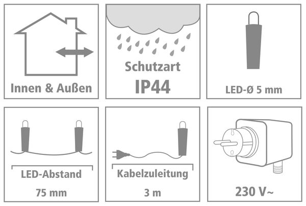 LED-Lichterkette, 120 LEDs, warmweiß, 230V~, IP44, Innen/Außen - Produktbild 3