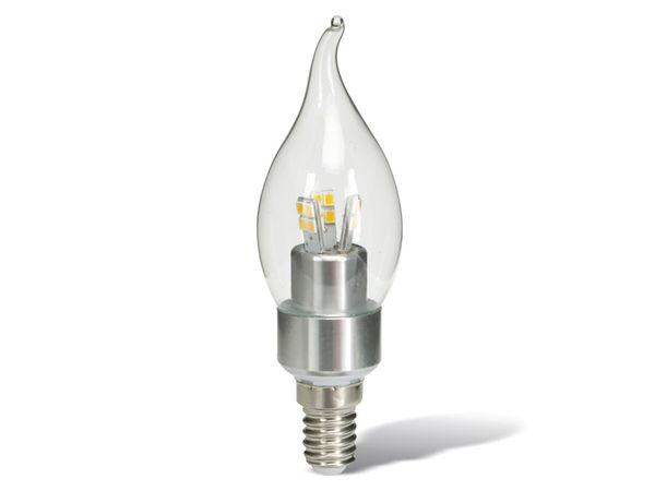 LED-Lampe, Windstoßkerze, 4 W, 320 lm, chrom