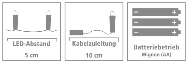 LED-Lichterkette, Silberdraht, 20 LEDs, kaltweiß, Batteriebetrieb - Produktbild 5