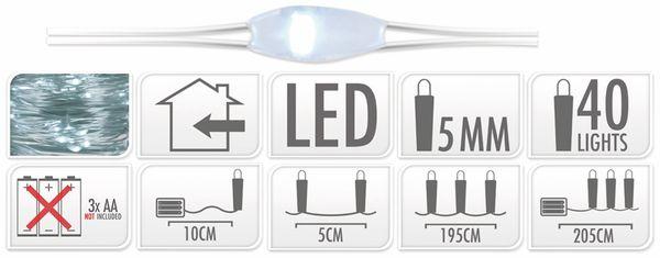 LED-Lichterkette, Silberdraht, 40 LEDs, kaltweiß, Batteriebetrieb - Produktbild 7