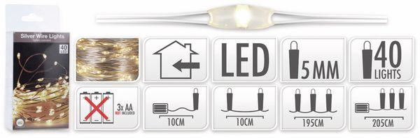 LED-Lichterkette, Silberdraht, 40 LEDs, warmweiß, Batteriebetrieb - Produktbild 7