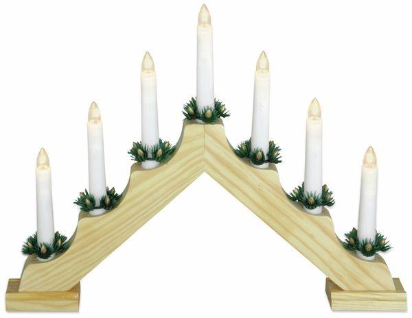LED-Kerzenbrücke, 7 Lampen, Holz, Naturfarben