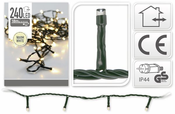 LED-Lichterkette, 240 LEDs, warmweiß, 230V~, IP44, Innen/Außen - Produktbild 4