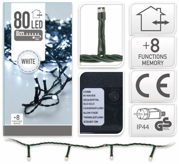 LED-Lichterkette, 80 LEDs, kaltweiß, 230V~, IP44, 8 Funktionen, Memory - Produktbild 4