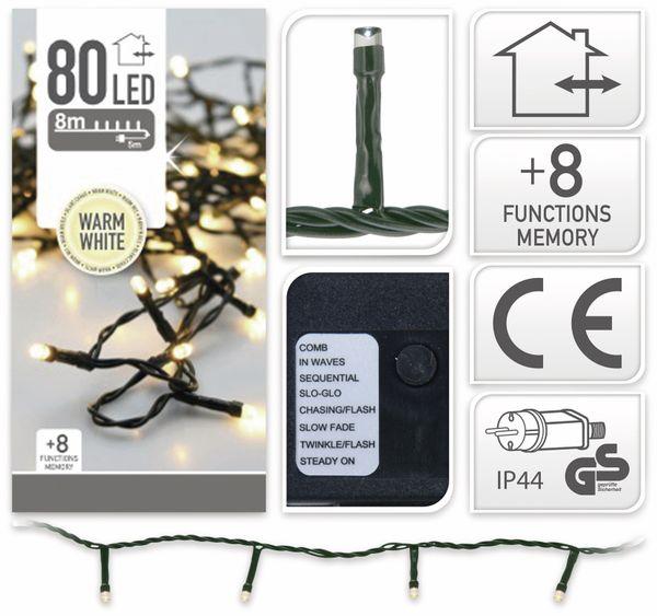 LED-Lichterkette, 80 LEDs, warmweiß, 230V~, IP44, 8 Funktionen, Memory - Produktbild 4