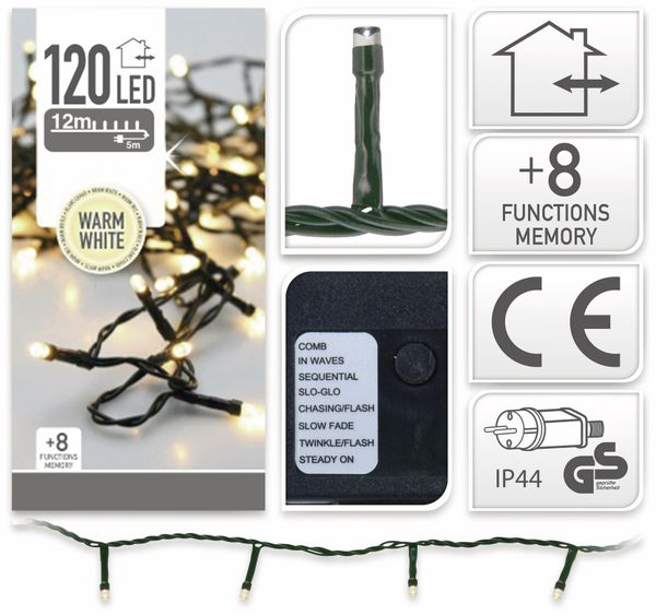 LED-Lichterkette, 120 LEDs, warmweiß, 230V~, IP44, 8 Funktionen, Memory - Produktbild 4