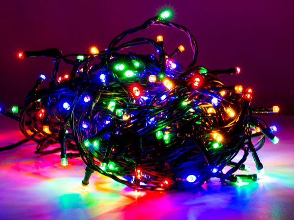 LED-Lichterkette, 80 LEDs, bunt, 230V~, IP44, 8 Funktionen, Memory