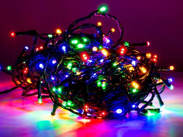 LED-Party Lichterkette, 80 LEDs, bunt, 230V~, IP44, 8 Funktionen, Memory