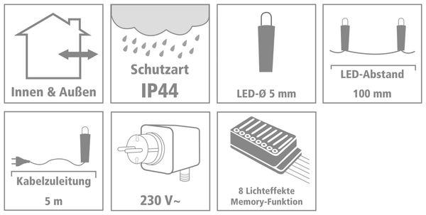 LED-Lichterkette, 80 LEDs, bunt, 230V~, IP44, 8 Funktionen, Memory - Produktbild 3