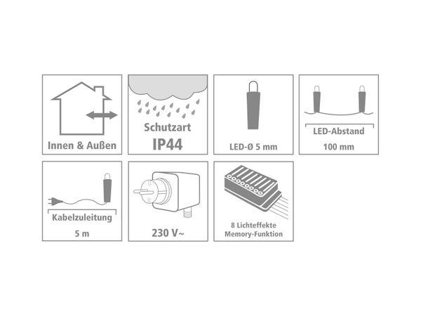 LED-Party Lichterkette, 80 LEDs, bunt, 230V~, IP44, 8 Funktionen, Memory - Produktbild 3