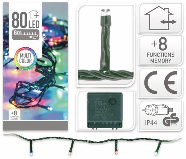 LED-Lichterkette, 80 LEDs, bunt, 230V~, IP44, 8 Funktionen, Memory - Produktbild 4