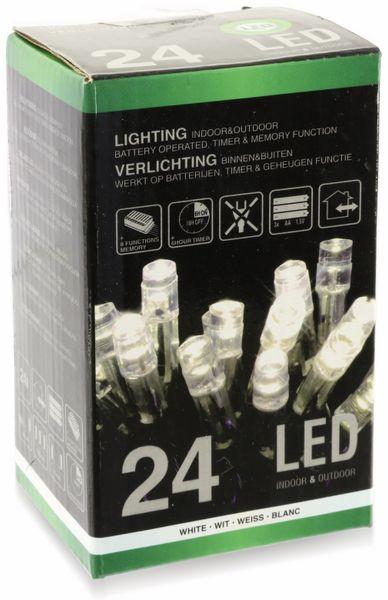 LED-Lichterkette, 24 LEDs, kaltweiß, Batteriebetrieb, IP44, Timer - Produktbild 3