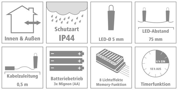 LED-Lichterkette, 96 LEDs, warmweiß, Batteriebetrieb, IP44, Timer - Produktbild 3