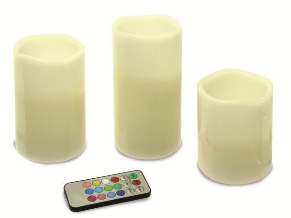 LED-RGB-Echtwachskerzen-Set DAYLITE LK-128RGB, 3 Stück, verschiedene Größen - Produktbild 1