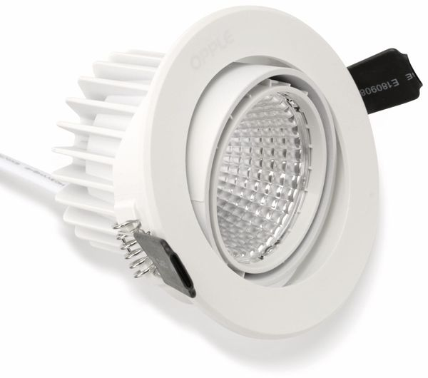 LED-Deckeneinbauspot OPPLE 140044428, EEK: A, 9 W, 580 lm, 2700 K, weiß