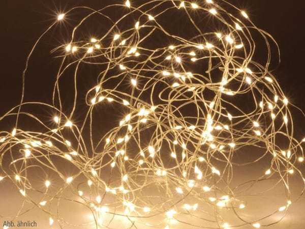 LED-Lichterkette, Silberdraht, 100 LEDs, warmweiß, Batteriebetrieb - Produktbild 1
