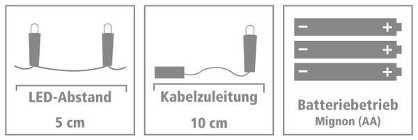 LED-Lichterkette, Silberdraht, 100 LEDs, warmweiß, Batteriebetrieb - Produktbild 4