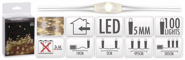 LED-Lichterkette, Silberdraht, 100 LEDs, warmweiß, Batteriebetrieb - Produktbild 5