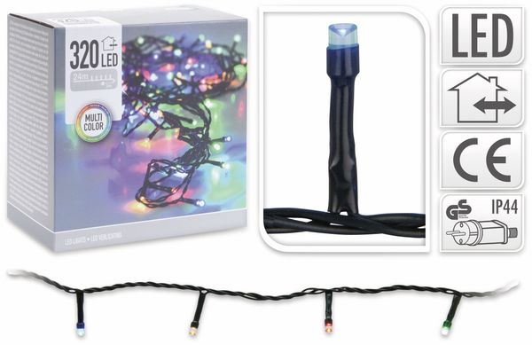 LED-Lichterkette, 320 LEDs, bunt, 230V~, IP44, Innen/Außen - Produktbild 4