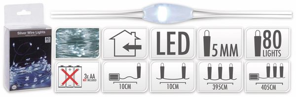 LED-Lichterkette, Silberdraht, 80 LEDs, kaltweiß, Batteriebetrieb - Produktbild 5