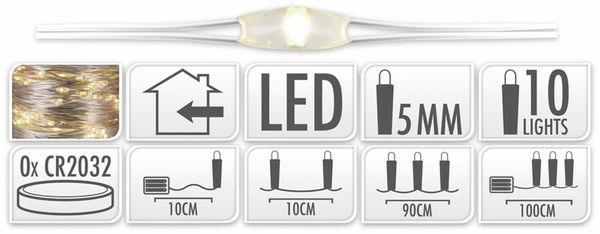 LED-Lichterkette, Silberdraht, 10 LEDs, warmweiß, Batteriebetrieb - Produktbild 5