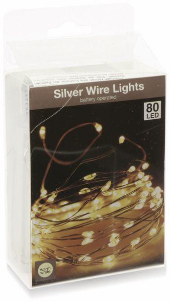 LED-Lichterkette, Silberdraht, 80 LEDs, warmweiß, Batteriebetrieb - Produktbild 4