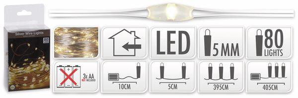LED-Lichterkette, Silberdraht, 80 LEDs, warmweiß, Batteriebetrieb - Produktbild 5