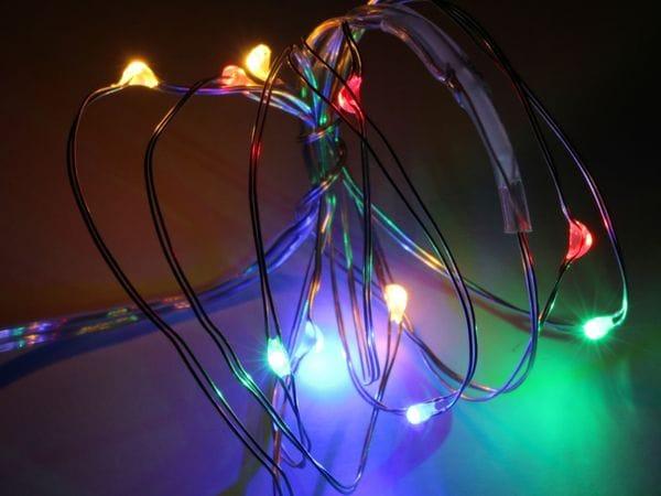 LED-Party Lichterkette, Silberdraht, 10 LEDs, bunt, Batteriebetrieb - Produktbild 1