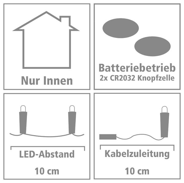 LED-Lichterkette, Silberdraht, 10 LEDs, bunt, Batteriebetrieb - Produktbild 3