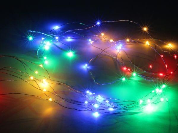 LED-Lichterkette, Silberdraht, 64 LEDs, bunt, 230V~, Innen/Außen