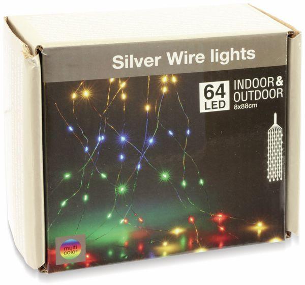 LED-Lichterkette, Silberdraht, 64 LEDs, bunt, 230V~, Innen/Außen - Produktbild 2