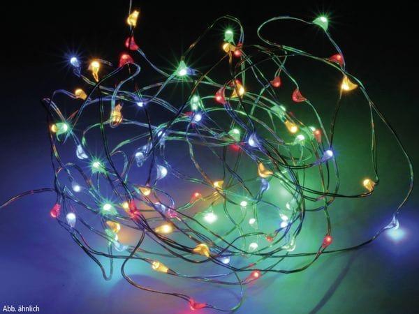 LED-Lichterkette, Silberdraht, 80 LEDs, bunt, Batteriebetrieb