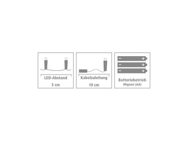 LED-Party Lichterkette, Silberdraht, 80 LEDs, bunt, Batteriebetrieb - Produktbild 4