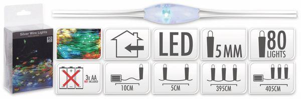 LED-Lichterkette, Silberdraht, 80 LEDs, bunt, Batteriebetrieb - Produktbild 5