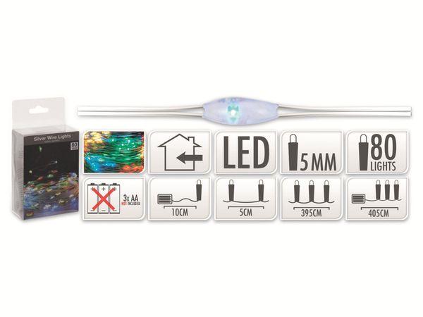LED-Party Lichterkette, Silberdraht, 80 LEDs, bunt, Batteriebetrieb - Produktbild 5