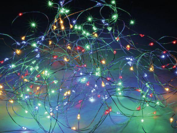 LED-Lichterkette, Silberdraht, 200 LEDs, bunt, 230V~, Innen/Außen