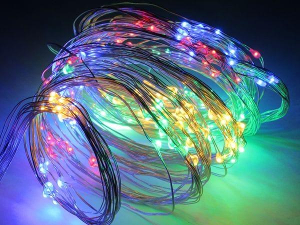 LED-Lichterkette, Silberdraht, 200 LEDs, bunt, 230V~, Innen/Außen - Produktbild 2