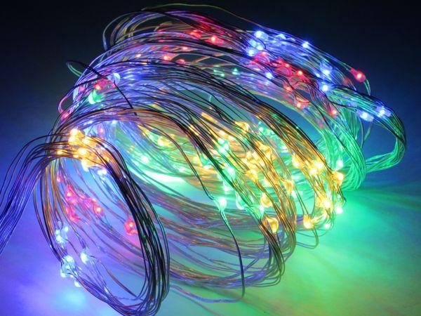 LED-Patry Lichterkette, Silberdraht, 300 LEDs, bunt, 230V~, Innen/Außen - Produktbild 2
