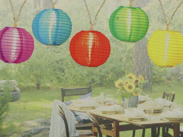 LED-Sommerlichterkette, 0,9W, Lampions, bunt - Produktbild 2