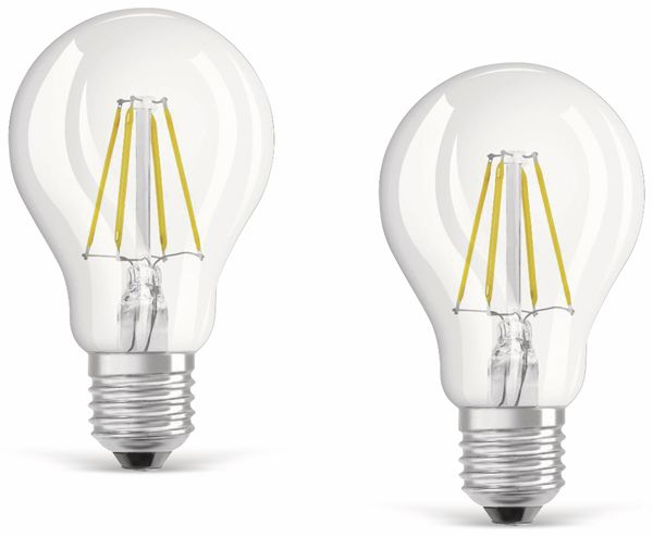 LED-Lampe OSRAM BASE CLASSIC A, E27, EEK: E, 4 W, 470 lm, 2700 K, 2 Stück