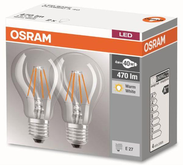 LED-Lampe OSRAM BASE CLASSIC A, E27, EEK: A++, 4 W, 470 lm, 2700 K, 2 Stück - Produktbild 2