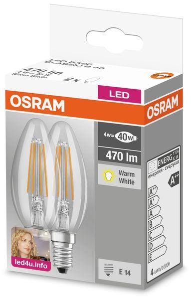 LED-Lampe BASE CLASSIC B, E14, EEK: A++, 4 W, 470 lm, 2700 K, B40, 2 Stück - Produktbild 2