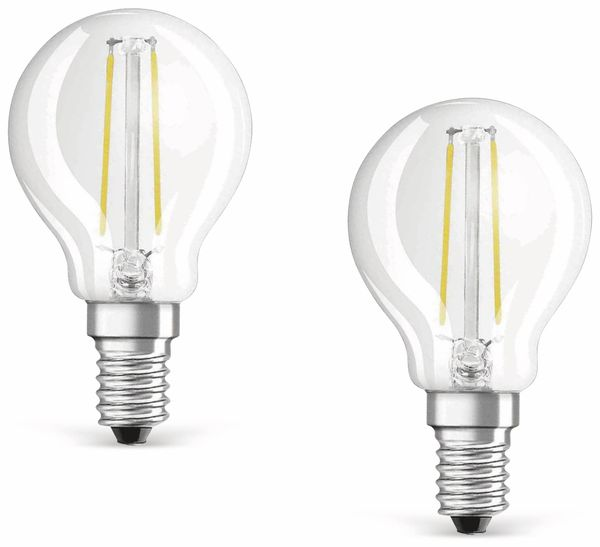 LED-Lampe OSRAM BASE CLASSIC P, E14, EEK: A++, 4 W, 470 lm, 2700 K, 2 Stück - Produktbild 1